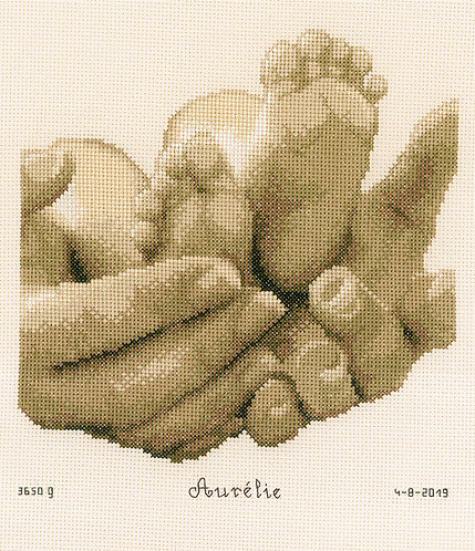 Natalicio - Pies del bebe - Vervaco - Kit de punto de cruz