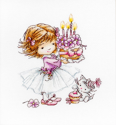 Little girl with a kitten and a cake