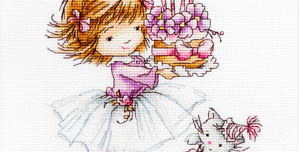 B1054 Little girl with a kitten and a cake - Cross Stitch Kit Luca-S