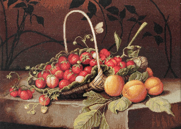 Basket of strawberries and apricots
