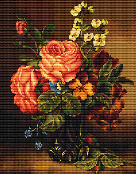 B491 Vase of roses and flowers - Cross Stitch Kit Luca-S