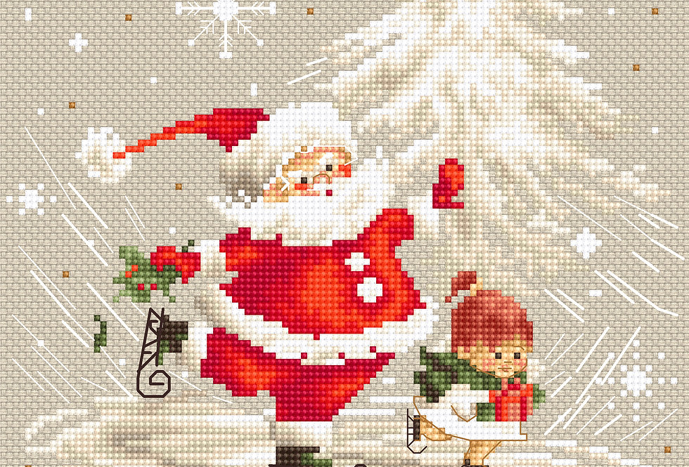 B1118 Santa Claus and a girl - Cross Stitch Kit Luca-S