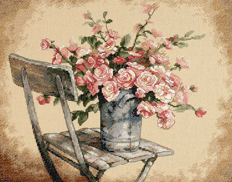 Roses on White Chair - 35187 Dimensions - Kit de punto de cruz