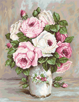 Roses in a vase - Petit Point