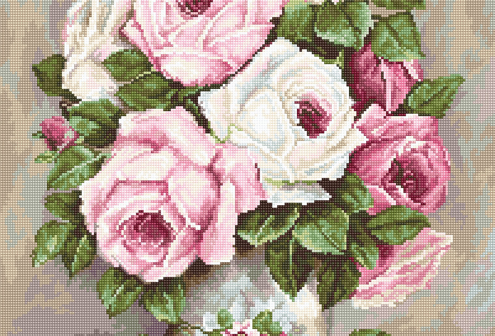 G574 Roses in a Vase - Petit Point Kit Luca-S