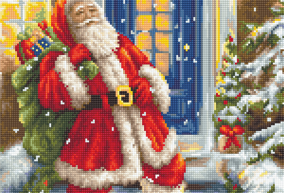 B563 Santa Claus at the door - Cross Stitch Kit Luca-S