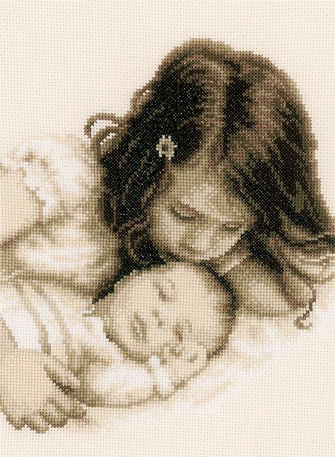 Bebé y hermana - Vervaco - Kit de punto de cruz
