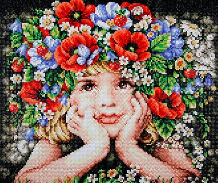 Niña con flores - Lanarte - Kit Punto Diamante