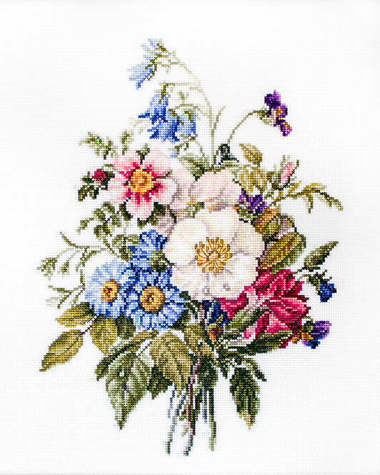BU4004 Ramo de flores de verano, kit de punto de cruz Luca-S
