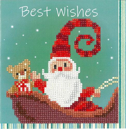 Happy Santa Greeting Card - Vervaco - Kit Punto Diamante