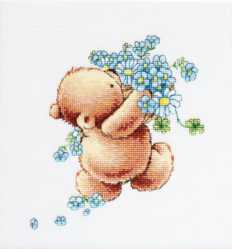 B1052 Bear with Forget-me-not Flower