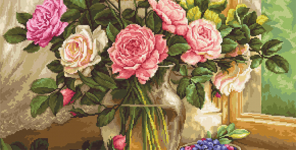 G588 Still Life with Blueberries - Petit Point Kit Luca-S