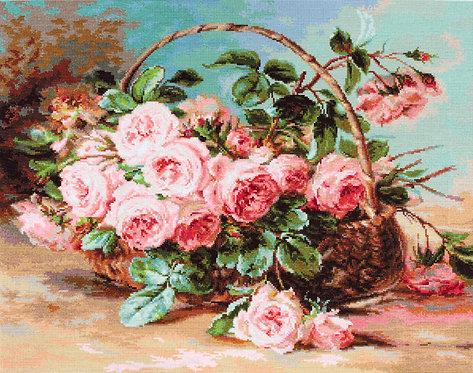 B547 Cesta de rosas rosadas - Kit de Punto de Cruz Luca-S