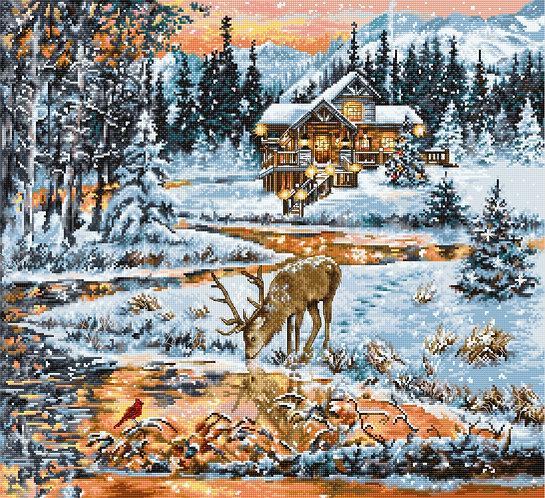 BU4022 Snowy Cabin - Luca-S - Kit de Punto de Cruz