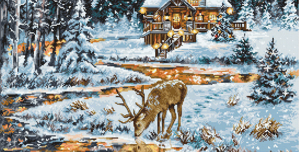 BU4022 Snowy Cabin - Cross Stitch Kit Luca-S