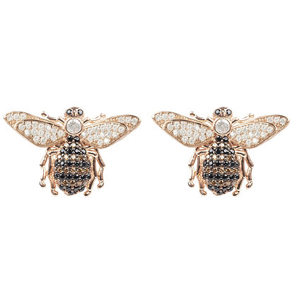 Honey Bee Stud Earrings Rosegold