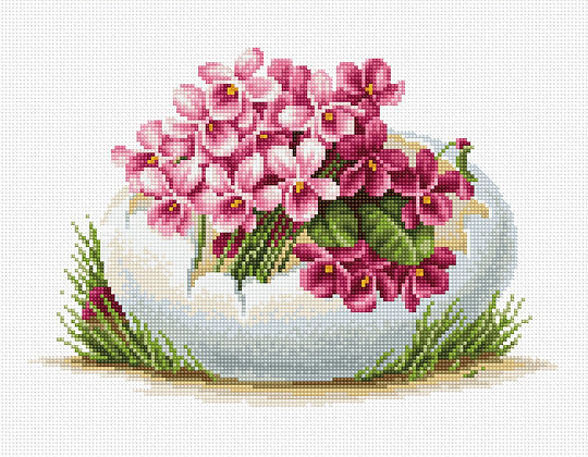Easter egg with violet flowers