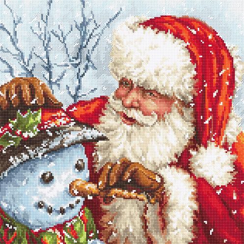 LETI 919 Santa Claus and Snowman - Kit de Punto de Cruz LETISTITCH