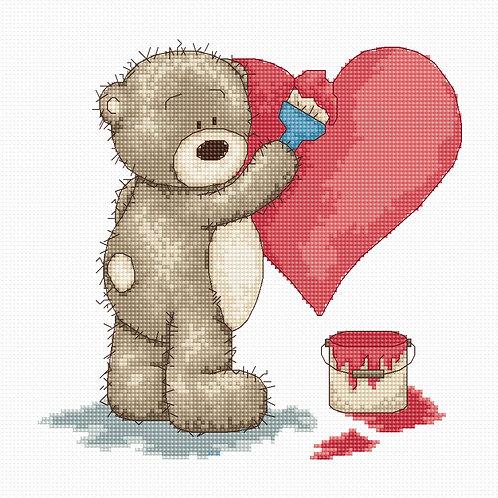 B1007 Pintando un corazón - Luca-S - Kit de Punto de Cruz