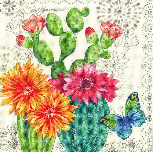 Flor de cactus - 70-35388 Dimensions - Kit de punto de cruz