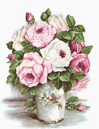 Roses in a vase - Aida 18 ct.