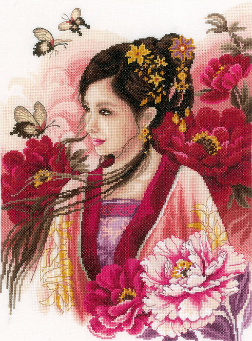 Asian Lady in Pink - Lanarte - Kit de punto de cruz