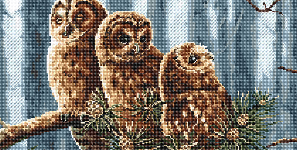LETI 946 Owl Family - LETISTITCH - Cross Stitch Kit