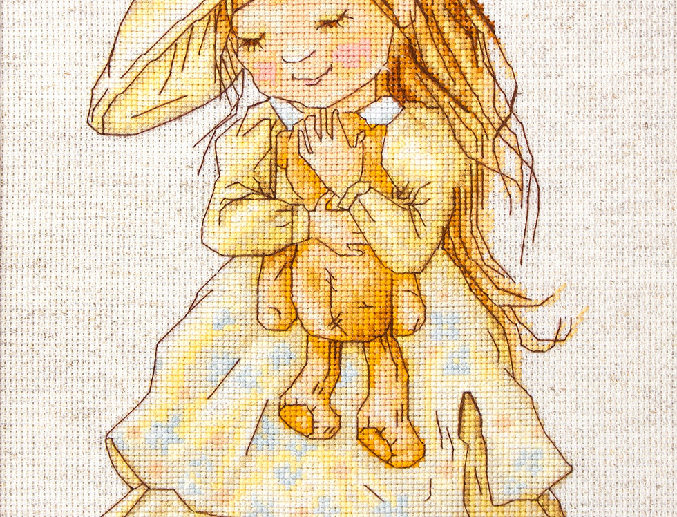 B1103 The girl with a bear - Cross Stitch Kit Luca-S