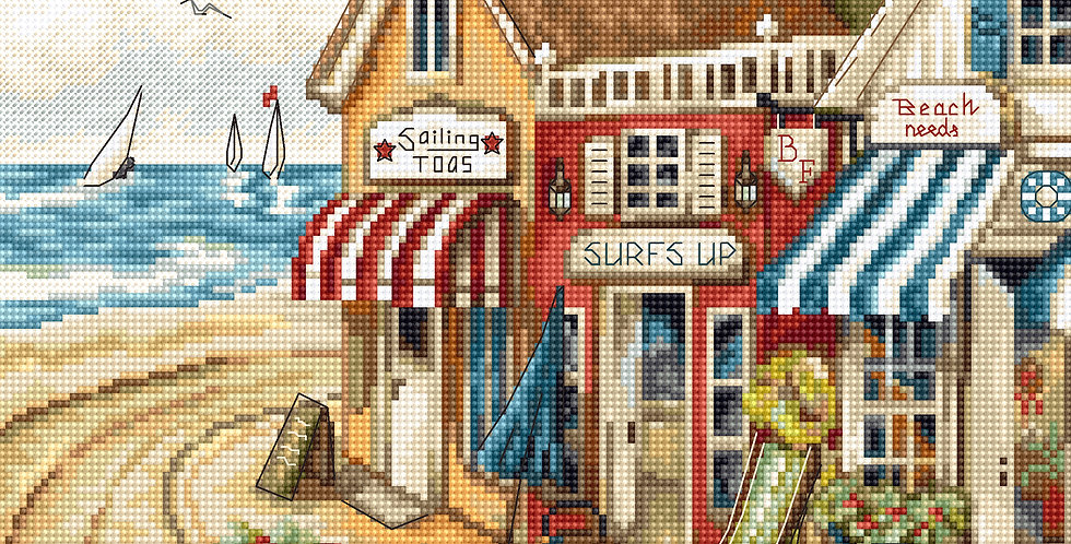 LETI 905 Shops by the sea - Cross Stitch Kit LETISTITCH