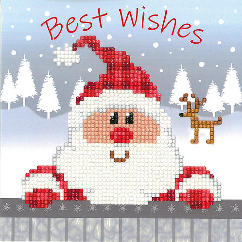 Santa Greeting Card - Vervaco - Kit Punto Diamante