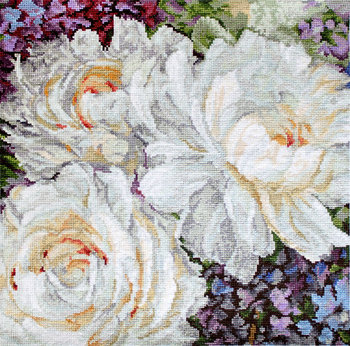 LETI 930 White Roses - Kit de Punto de Cruz LETISTITCH