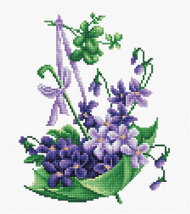 Green umbrella with violet flowers
