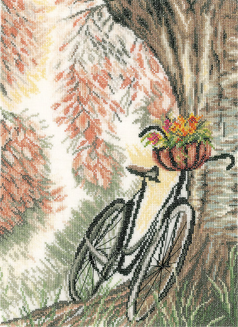 Bike & flower basket - Lanarte - Kit de punto de cruz