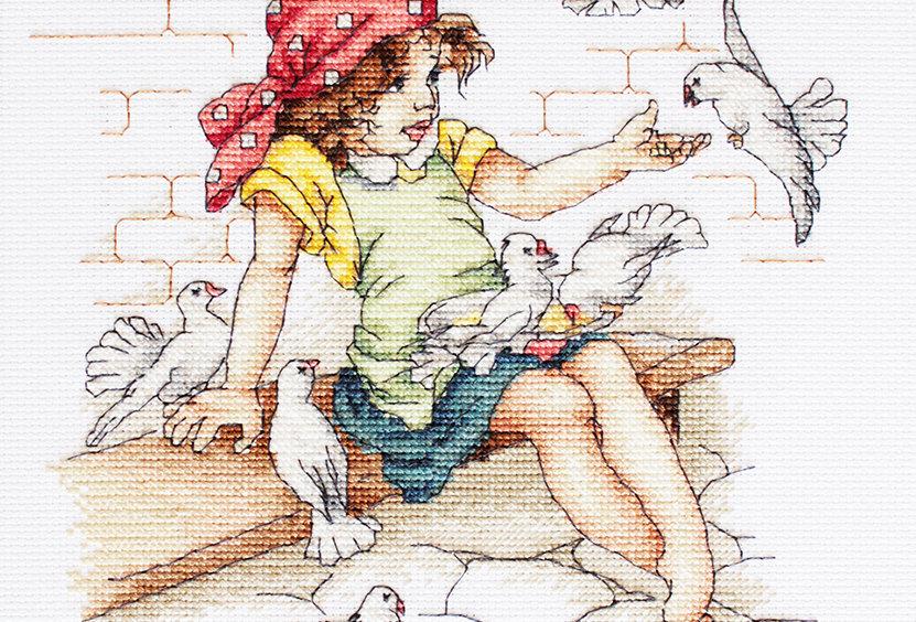 B1051 Girl with pigeons - Cross Stitch Kit Luca-S