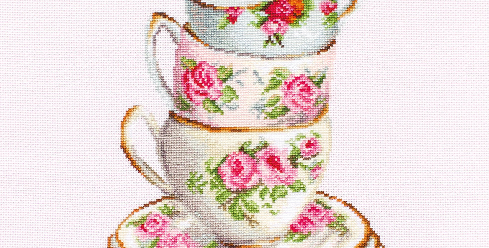 BA2323 3 Stacked Tea Cups - Cross Stitch Kit Luca-S