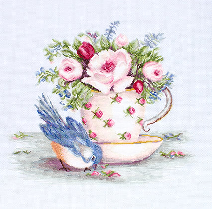 Bird and cup of tea - Aida 16ct.