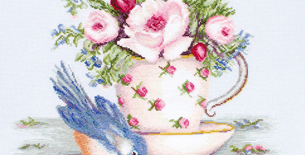 BA2324 Bird in Tea Cup - Cross Stitch Kit Luca-S