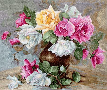 B587 Florero con rosas - Luca-S - Kit de Punto de Cruz