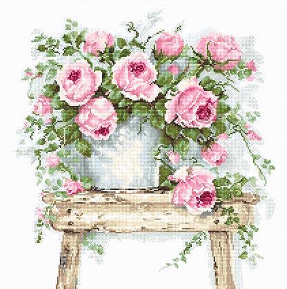 Flowers on a stool - Belana 20 ct.