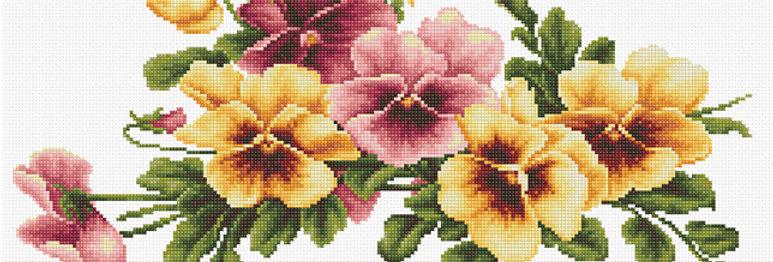 BM3004 Flores - Pensamientos - Kit de Punto de Cruz