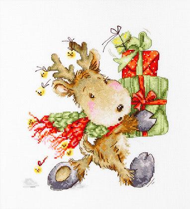 Deer carrying gifts