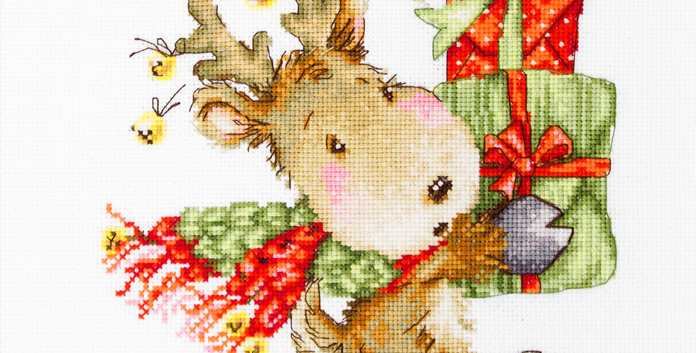 B1120 Deer carrying gifts - Cross Stitch Kit Luca-S