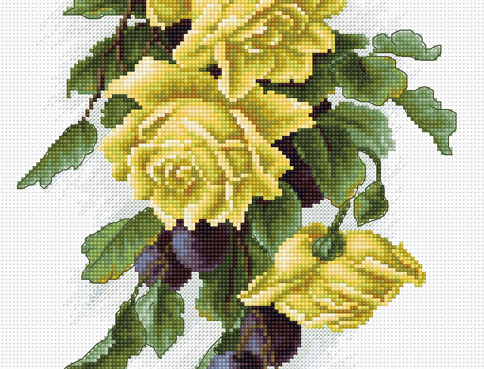 B2230 Yellow roses with plums - Cross Stitch Kit Luca-S