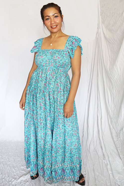 Sara Dress - Blue Boho Print - Rayon
