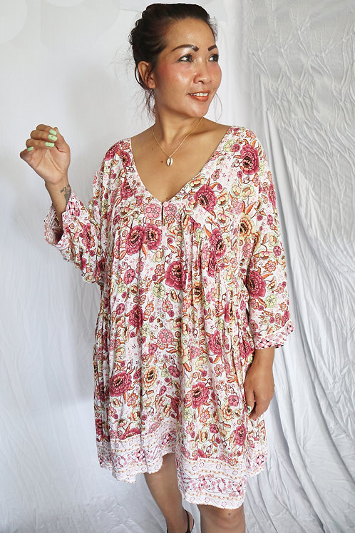 T11828 - Pink Floral Print - Rayon