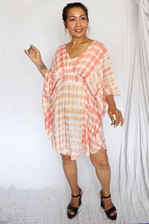 Butterfly Dress - Peach Tie Dye - Rayon