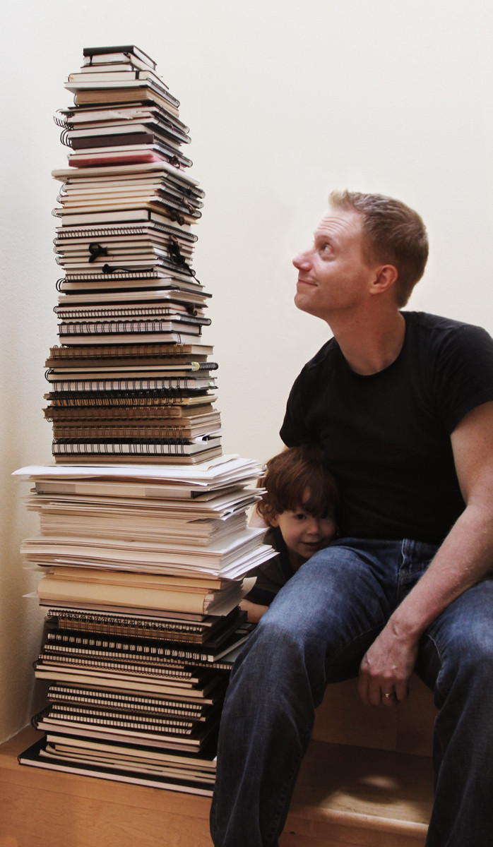 Ten Year Stack of Sketchbooks