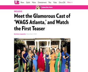 Kesha Denise and cast starring in WAGS Atlanta on E Network, US Weekly WAGS article screenshot