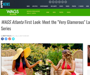 Kesha Denise and cast starring in WAGS Atlanta on E Network, E News WAGS article screenshot