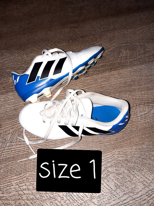 Size 1 boots - white and blue